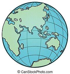 europe, australie, oriental, globe, afrique, hemisphere., asie
