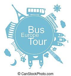 europe, autobus, conception, tours, icône