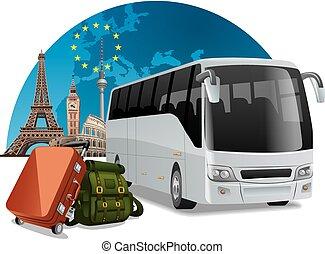 europe, autobus, tour
