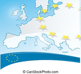 europe background with flag and map