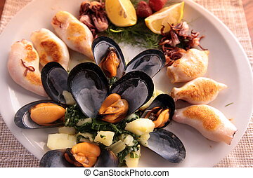 EUROPE BALKAN MONTENEGRO FOOD SEAFOOD - seafood in a...