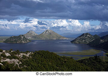the west end of the Skadarsko Jezero Lake or Skadar Lake in Montenegro in the balkan in east europe.