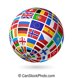 europe., bandiere, globe.