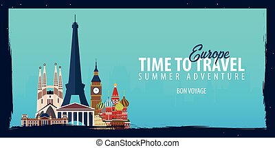 Europe banner. Time to Travel. Journey, trip and vacation. Vector flat illustration.