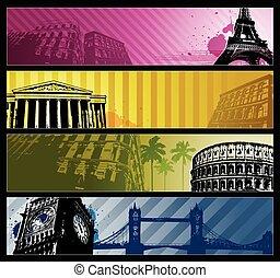 europe, bannières, villes, horizontal, voyage