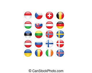 europe, boutons, partie, drapeaux, deux
