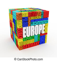 Europe. Box from name of european countries. 3d
