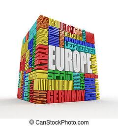 europe., boxas, från, namn, av, europe, länder