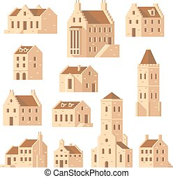 Europe buildings set flat design