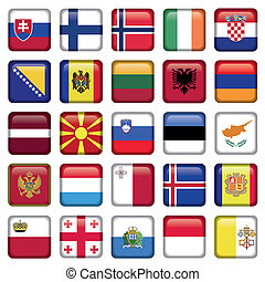 Europe Buttons Square Flags