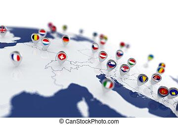 europe, carte, à, pays, drapeaux, emplacement, epingles