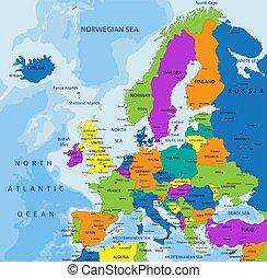 europe, carte, étiqueté, illustration., coloré, politique, séparé, vecteur, layers., clairement