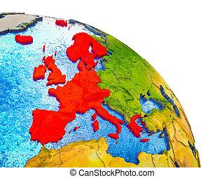 europe, carte, 3d, occidental, la terre