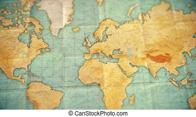 europe, carte, coloré, vendange, sépia, -, zoom, version, ...