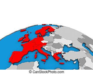 europe, carte, globe, occidental, 3d