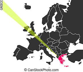 europe, carte, grèce, -, politique