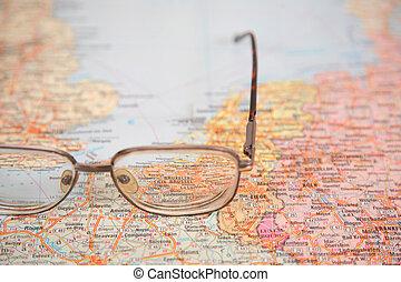 europe, carte, lunettes