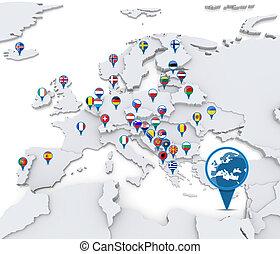 europe, carte, national, drapeaux