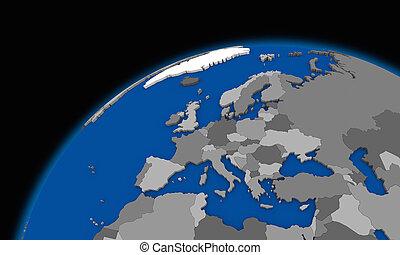 europe, carte, planète, politique, la terre