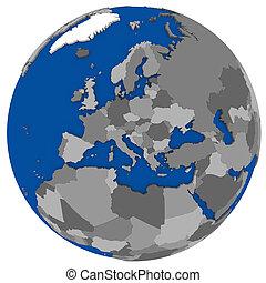 europe, carte, politique, la terre