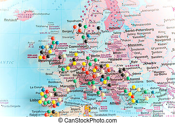 europe, carte, pushpins, tout, sur