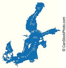europe, carte, silhouette, nord, mer, baltique