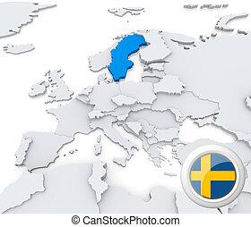 europe, carte, suède
