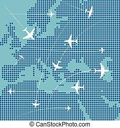 europe, carte, sur, voler, avions, résumé