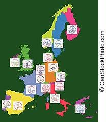 europe, carte, timbres, ville