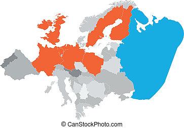europe, carte, vecteur