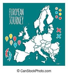europe, carte, vendange, voyage, illustration, main, vecteur, epingles, dessiné