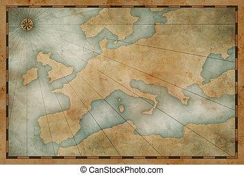 europe, carte, vieux, thème, fond, nautique