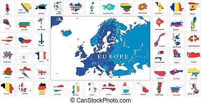 europe, cartes, drapeau, pays