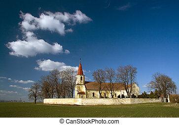 europe, catholique, oriental, village, -, pac, église,...
