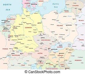 europe, central, politique, carte