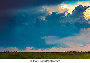 europe, champs, lituanie, tornadic, supercell, orage