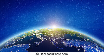 Europe city lights. Elements of this image furnished by NASA...