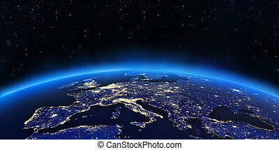 Europe city lights map