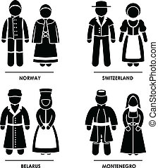 A set of pictograms representing people clothing from Norway, Switzerland, Belarus, and Montenegro.