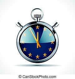 europe, concept, -, chronomètre, drapeau, temps, eu