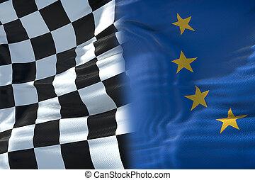 europe, concept, fin, drapeau syndicats, concurrence, une, checkered, drapeaux, course, moitié, formule, sport, européen