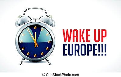 europe, concept, horloge, reveil, -, haut, drapeau, sillage, eu