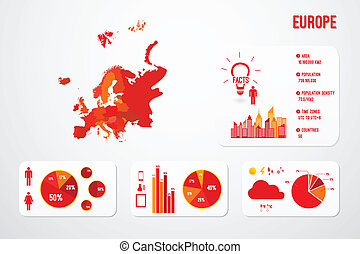 Europe Continent Map Infographics
