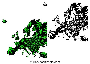 Europe continent - map is designed cannabis leaf