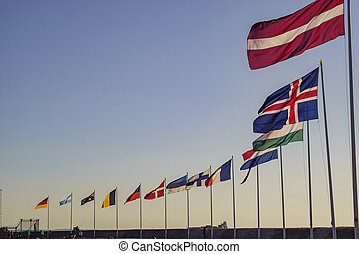 Europe country flags swinging