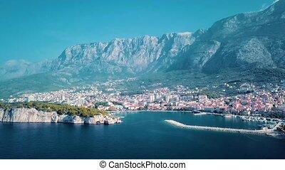 Europe. Croatia. Makarska.View from the drone in 4K on the...