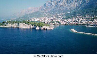 Europe. Croatia. Makarska.View from the drone in 4K on the...