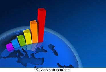 europe, -, diagramme, croissance, mondiale, 3d