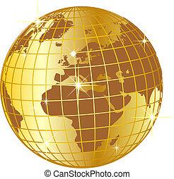 europe, doré, globe, afrique