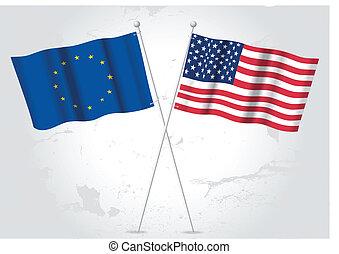 europe, drapeau, usa
